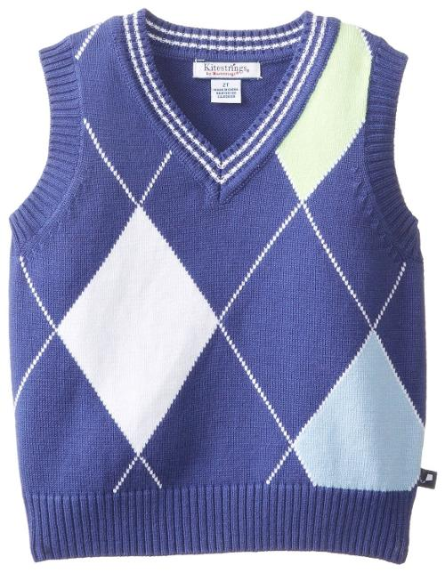 Little Boys' Toddler Argyle V-Neck Sweater Vest by Kitestrings in Little Fockers