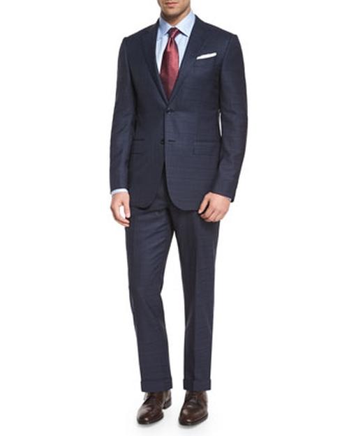 Milano Plaid Two-Piece Wool Suit by Ermenegildo Zegna in Suits - Season 5 Episode 1