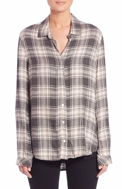 Plaid Button-Down Shirt by Bella Dahl in Billions