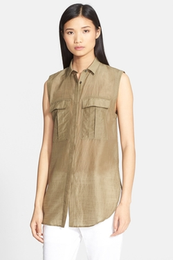 Sleeveless Cotton & Silk Shirt by Helmut Lang in Chelsea