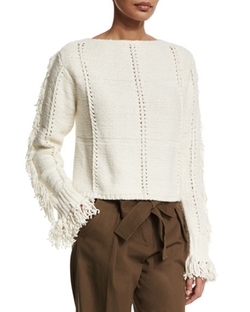 Cropped Fringe-Trim Pullover Sweater by 3.1 Phillip Lim in The Bachelorette