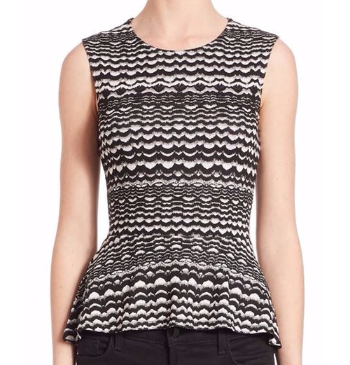 Maribella Knit Peplum Top by BCBGMAXAZRIA in Empire