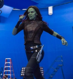 Custom Made Gamora Black Suit Costume by Judianna Makovsky (Costume Designer) in Guardians of the Galaxy Vol. 2