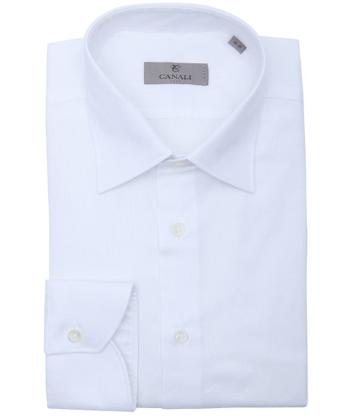 White Pique Cotton Point Collar Dress Shirt by Canali in Suits