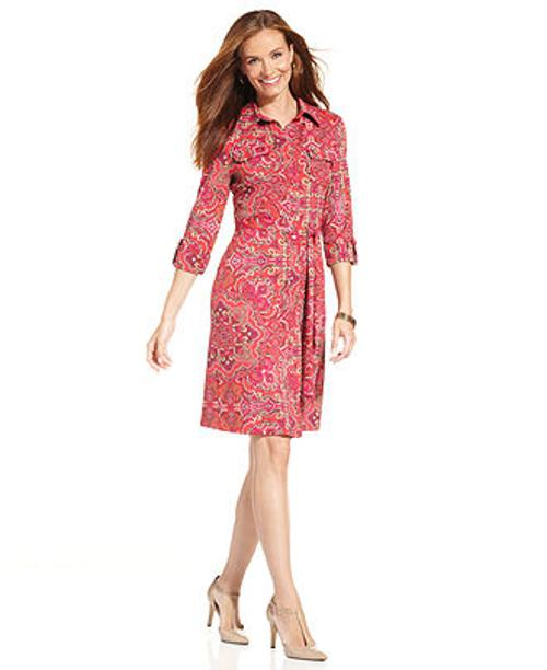 Belted Paisley-Print Shirtdress by Charter Club in The Other Woman