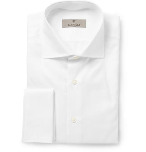 White Slim-fit Double-cuff Cotton-twill Shirt by Canali in Yves Saint Laurent