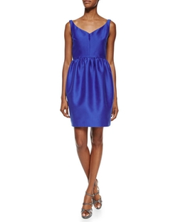 Sleeveless V-Neck Pouf-Skirt Dress by Kate Spade New York in Guilt