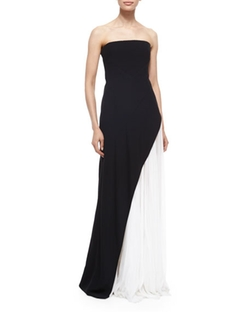 Strapless Asymmetric Pleat Gown, Black/white by J. Mendel in Unbreakable Kimmy Schmidt
