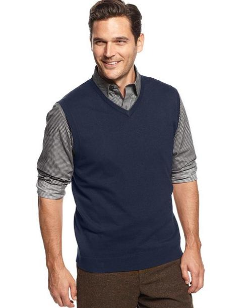 Solid V-Neck Sweater Vest by Tasso Elba in Savages