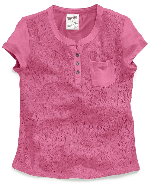 Girls' Lace Henley Pocket Tee by Belle Du Jour in Blended
