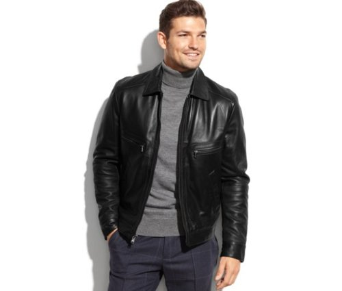 Welby Shirt-Collar Leather Jacket by Michael Kors in Vice