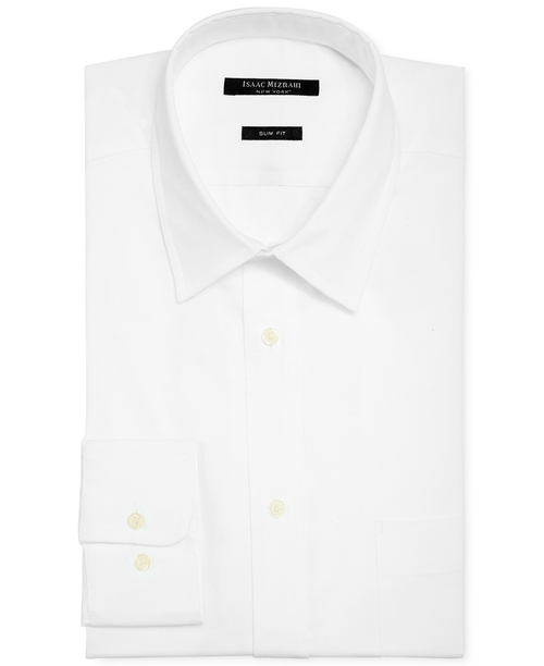Slim-Fit Twill Solid Dress Shirt by Isaac Mizrahi in We Are Your Friends