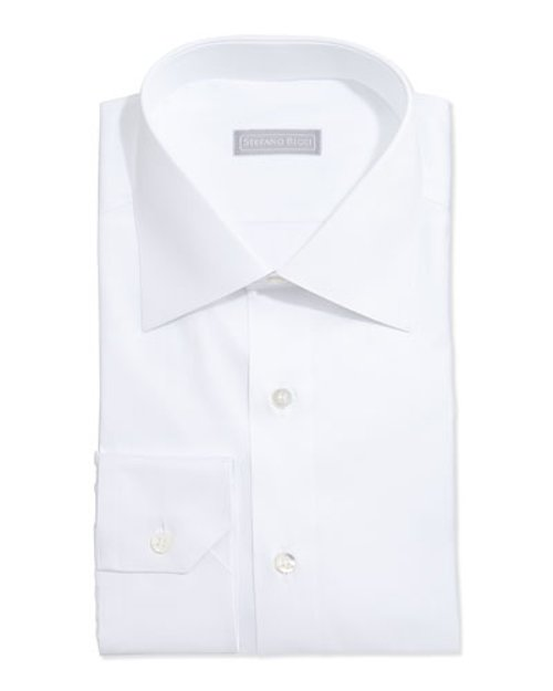 Basic Solid Barell-Cuff Dress Shirt by Stefano Ricci	 in Top Five
