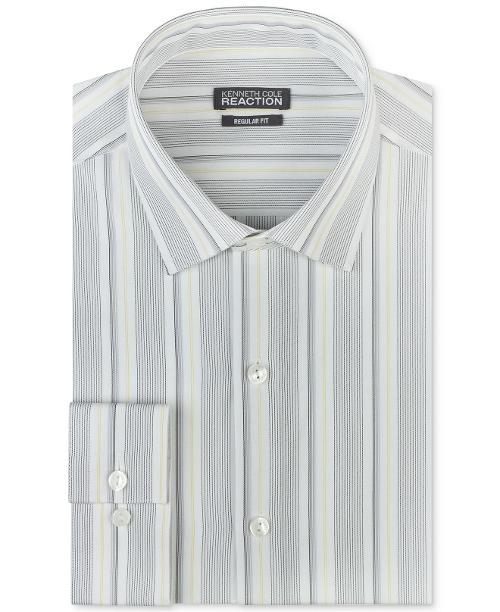Grey and Yellow Stripe Dress Shirt by Kenneth Cole Reaction in The Hundred-Foot Journey