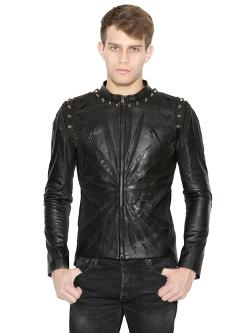 Studded Leather Moto Jacket by Christophe Terzian in About Last Night