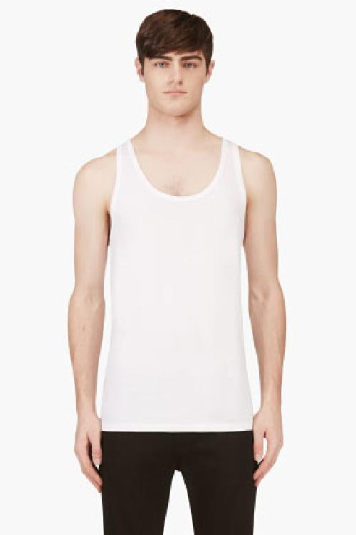 WHITE COTTON TANK TOP THREE-PACK by CALVIN KLEIN UNDERWEAR in Brick Mansions