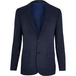 Blue Skinny Suit Jacket by River Island in She's Funny That Way