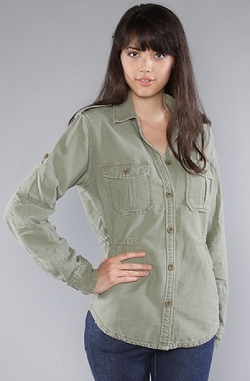 Green The St. Germaine Painter Shirt Jacket In Army Paint by Obey in Warm Bodies