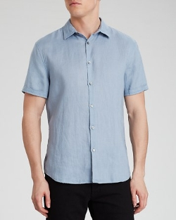 Short Cuffed Sleeve Linen Button Down Shirt by John Varvatos USA in Love & Mercy