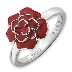 Red June Rose Flower Ring by Stackable Expressions in Fight Club