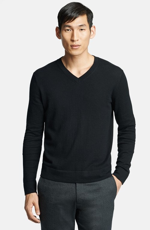 V-Neck Cotton & Cashmere Sweater by Theory in That Awkward Moment