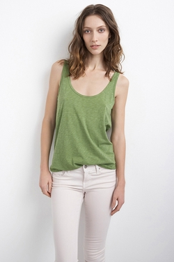 Babs Cotton Slub Tank Top by Velvet by Graham & Spencer in Ballers