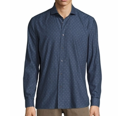 Peace Long-Sleeve Printed Woven Shirt by R by Robert Graham in Scream Queens