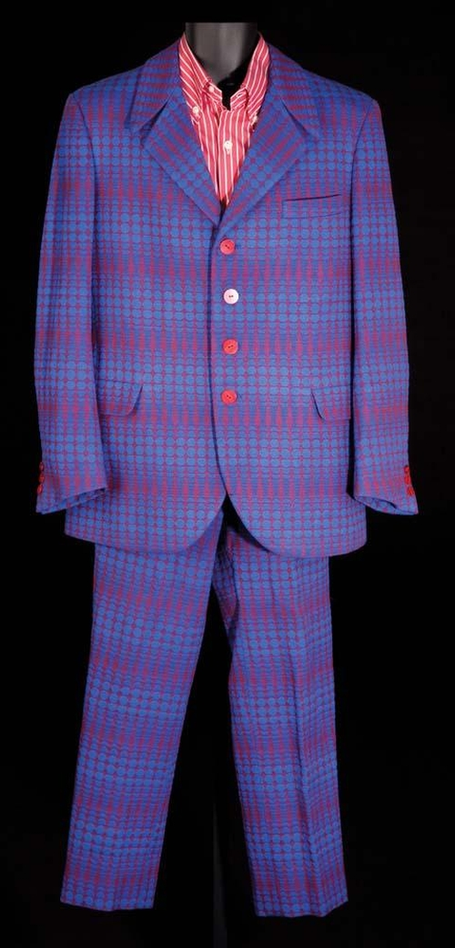 Custom Made Bright Blue and Red Mod Design Suit by Deena Appel (Costume Designer) in Austin Powers in Goldmember
