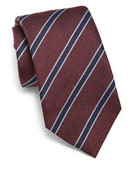 Framed Striped Silk & Wool Tie by Isaia in Elementary - Season 4 Episode 5