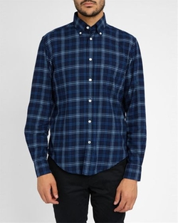 Flannel Contrast Classic-Fit Shirt by Hartford in Ashby