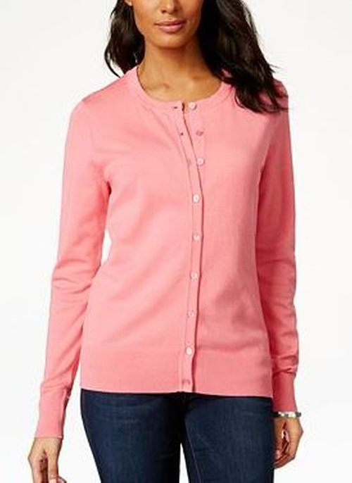 Long-Sleeve Button-Front Cardigan by Charter Club in She's The Man