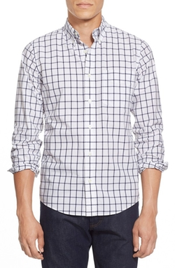 Trim Fit Windowpane Sport Shirt by Jack Spade in Arrow