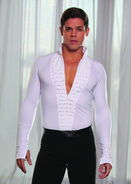 Mandarin Collar Tuxedo Ruffled Shirt by Dance America in Hot Tub Time Machine 2