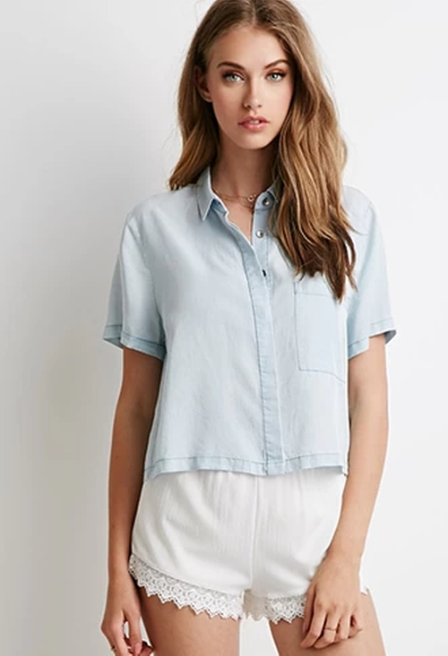 Boxy Chambray Shirt by Forever21 in Wedding Crashers