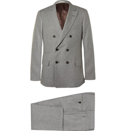 Houndstooth Linen Wool And Silk Blend Suit by Brunello Cucinelli in Scarface