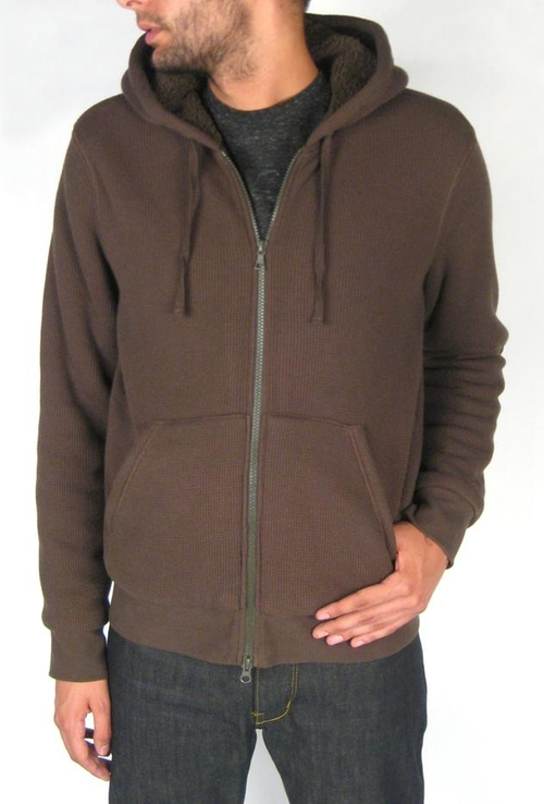 Brown Sherpa Lined Hoodie in Khaki by Vince in Interstellar