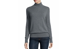 Classic Long-Sleeve Cashmere Turtleneck by Neiman Marcus Cashmere Collection in Miss Sloane