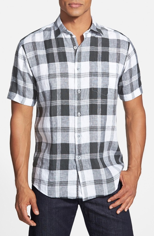 Plaid Linen Sport Shirt by Bugatchi in Dope