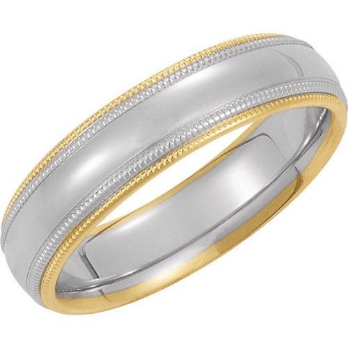 14k White Gold Milgrain Half Dome Ring by The Men's Jewelry Store in Adult Beginners