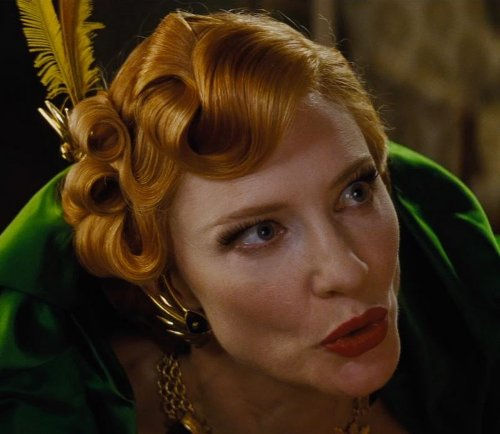 Custom Made Gold Wring Earrings (Lady Tremaine) by Sandy Powell (Costume Designer) in Cinderella