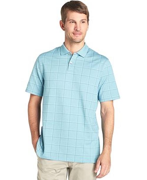 Printed Windowpane Check Polo Shirt by Van Heusen in Wet Hot American Summer