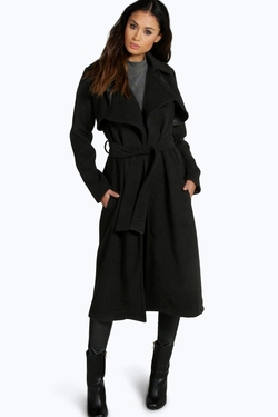 Lois Longline Belted Wool Trench Coat by Boohoo in The Vampire Diaries