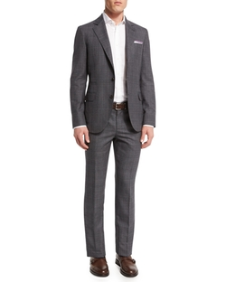 Plaid Wool Suit by Brunello Cucinelli in Rosewood