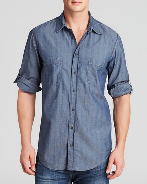 Herringbone Button Down Shirt by Boss in Begin Again