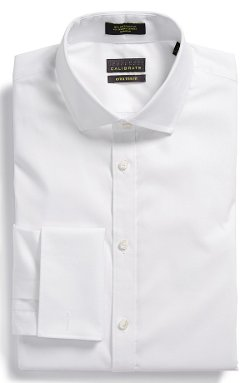 Non-Iron Extra Trim Fit Stretch French Cuff Dress Shirt by Calibrate in Black or White