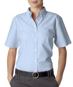 Women's Classic Wrinkle-Free Short-Sleeve Oxford Shirt by UltraClub in We're the Millers