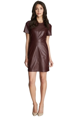 Faux Leather & Ponte Shift Dress by 1.State in The Good Wife