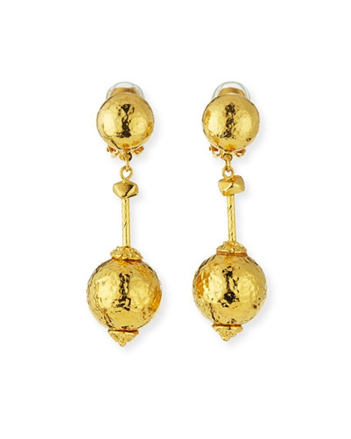 Hammered Ball-Drop Clip-On Earrings by Jose & Maria Barrera in Crimson Peak