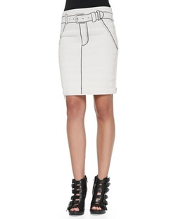 Tromp L'oeil Printed Side-Zip Miniskirt by Band of Outsiders in Scream Queens