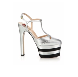 Angel Metallic Leather Platform Pumps by Gucci in Empire